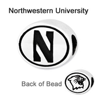 Northwestern University Collegiate Bead Sterling Silver