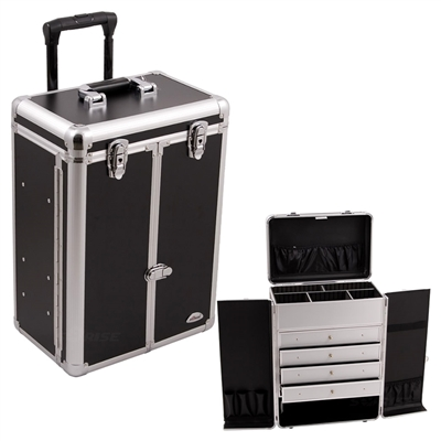 Sunrise Makeup Rolling Case with Drawers, Black