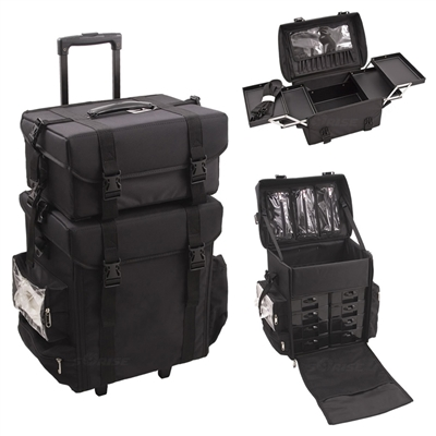 Sunrise Makeup Trolley 2 Piece Case, Black Nylon