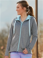 "Womens ""Heathered Guide"" Full-Zip Performance Fleece Hoodie A5558SWT"
