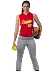 "Womens/Girls ""Glow"" Two-Button Sleeveless Softball Uniform Set With Pants CBS37W-BS37GSOF-SETP"