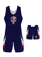 "Adult/Youth ""Tombe"" Custom Sublimated Wrestling Singlet with Grappler Shorts"