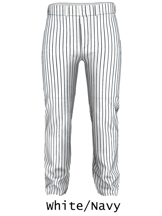 Relaxed Fit Open Bottom Ankle Length Pinstripe Baseball Pants ... 3bd8ca401d31
