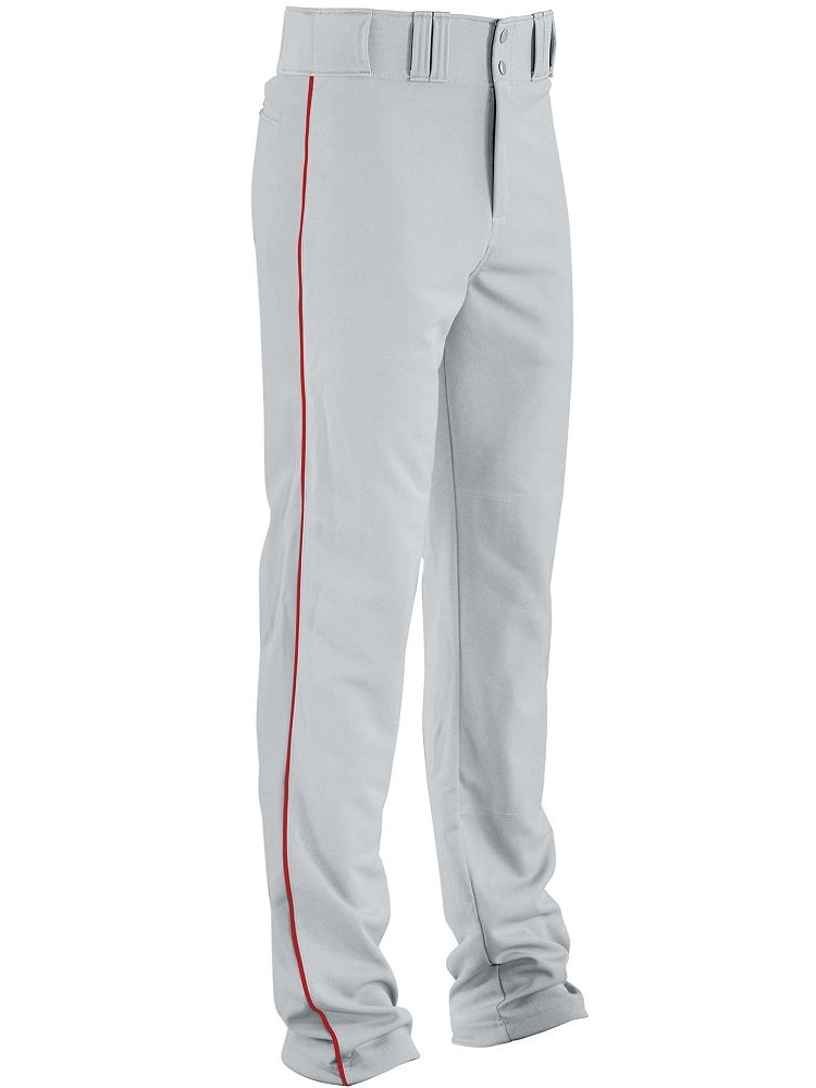 56a4e3c0a49 Relaxed Fit Open Bottom Ankle Length Baseball Pants with Piping ...