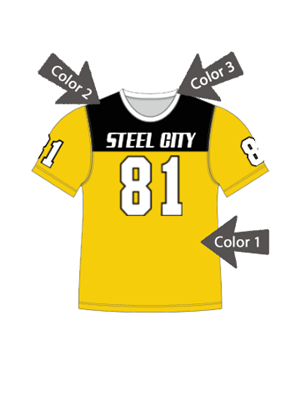"Quick Ship Custom Program - Adult/Youth/Womens ""Solid Yoke"" Custom Flag Football Crew Neck Set"
