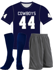 "Quick Ship Custom Program - Adult/Youth/Womens ""Solid Inserts"" Custom Flag Football Crew Neck Set"