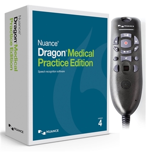 Nuance Dragon Medical Practice Edition 4 with Powermic III 3 foot Cord