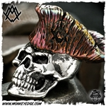 Ace Metal Works Bead: Ace Founding Father - Silver/Copper Flamed Red Tones