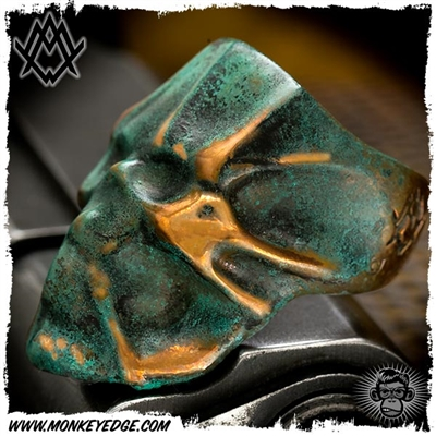 Ace Metal Works Ring: Ace Wrap Skull Large - Copper Patina