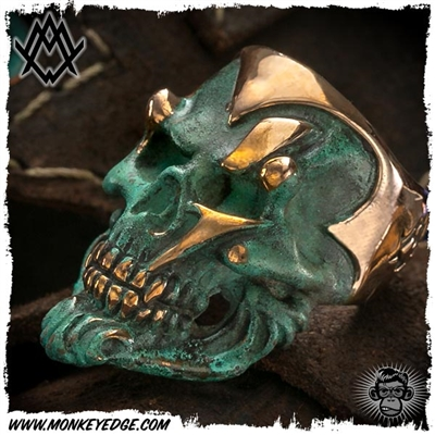 Ace Metal Works Ring: Ace Ming Skull Large - Copper Patina