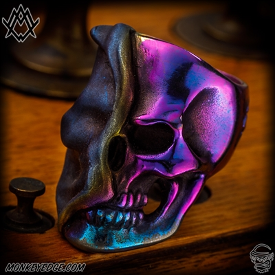 Ace Metal Works Ring: Ace Reveal Skull Large - Titanium Two Tone