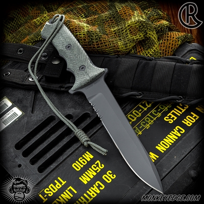 Chris Reeve Knives: Green Beret 7 Inch w/Serrations - Black