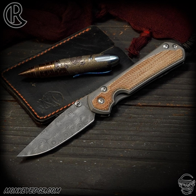 Chris Reeve Knives Folder: Sebenza 31 Small Inlay - Drop Point Natural Micarta Raindrop Damascus
