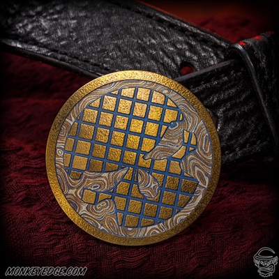 Dmitry Streltsov: Krysoboi Belt Buckle - Titanium Gold/Blue