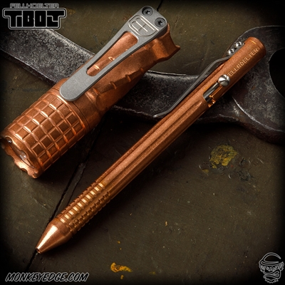 Fellhoelter TiBolt Pen - Copper Tumbled Straight Fluted w/Rings