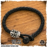 Leather Braided Bracelet For Beads - Black
