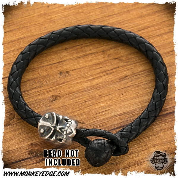 Leather Braided Bracelet For Beads Black