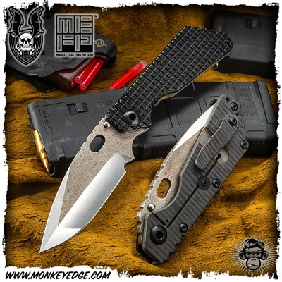 Mick Strider Custom SMF Dagger Grind Up Armored Tip - Monkey Edge Frag Pattern