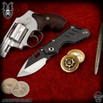 Mick Strider Custom Stubby Dagger Grind Up Armored Tip - Two Tone Black Magma