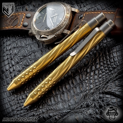 Nottingham Tactical: TiClicker Pen - Brass Tumbled Spiral Fluted w/Dots