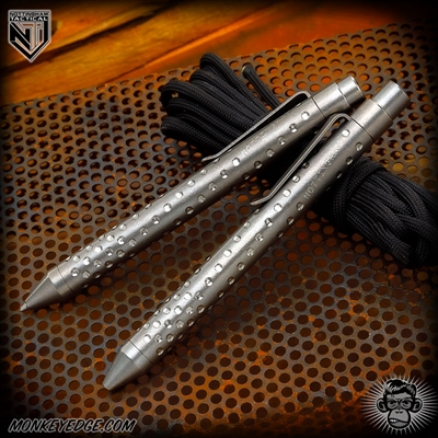 Nottingham Tactical: TiClicker Pen - Titanium Tumbled Spiral Dots