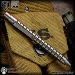 Nottingham Tactical: TiClicker Pen - Titanium Tumbled/OD Green Monkey Edge FRAG Pattern