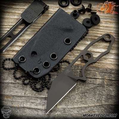 Hinderer Knives: LP1 Neck Knife - Wharncliffe Black DLC w/ Ulticlip