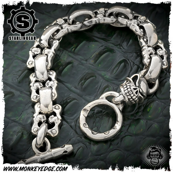 Starlingear Bracelet Slickster W Face Off And Flat Links Silver