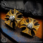 Starlingear Cufflinks: Maltese Cross w/Slickster (Set of 2) - Brass/Silver