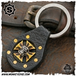 Starlingear Key Ring: Maltese Cross Gunner Leather Fob