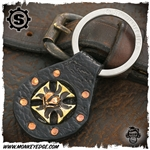 Starlingear Key Ring: Maltese Cross Heartbreaker Leather Fob