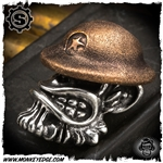 Starlingear Bead: Monkey Doughboy - Silver/Copper Textured w/Star
