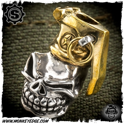 Starlingear Bead: Slickster Grenade Custom Stamped - Silver/Brass