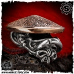 Starlingear Bead: Monkey Samurai - Silver/Copper Textured