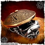 Starlingear Bead: Monkey Samurai - Silver/Copper Textured + X Stamped