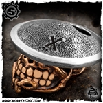 Starlingear Bead: Slickster Samurai - Copper/Silver Textured + X Stamped