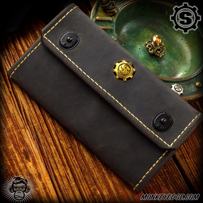 Starlingear Portfolio Wallet - Gray Leather + Gold Kangaroo