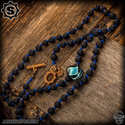 Starlingear Necklace: Vintage Line - Black Agate Blue Thread w/Glass Curby