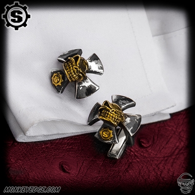 Starlingear Cufflinks: Cross w/Slickster (Set of 2) - Silver/Brass