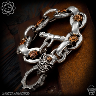 Starlingear Bracelet: Anchor Links w/S-Gears - Slickster Silver/Copper