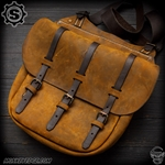 Starlingear Leather Cavalry Bag Satchel - Two Tone Brown Leather