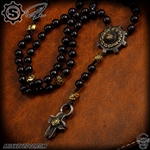 Starlingear Custom Necklace: Vintage Slickster Rosary Beads - Silver/Brass/Bronze