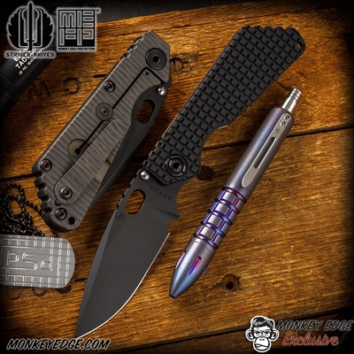 Strider Knives Folder: SNG Thickass Dagger Grind - Black/Flamed Monkey Edge FRAG Pattern 3V