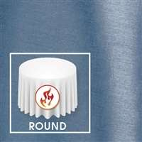 "102"" Round Polished-Luster Flame Retardant Satin Tablecloth"