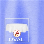 "108""x156"" Oval Polished Luster Flame Retardant Satin Tablecloth"