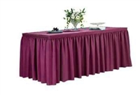 Shirred Spun Polyester Table Skirt 6 Foot Table - All Sides Covered