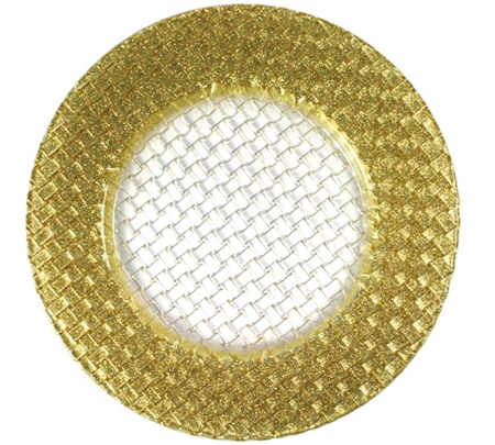 "12.5"" Chargeit by Jay Round Gold Braid Charger Plate - Set of 6"