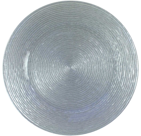 "13"" Chargeit by Jay Circus Silver Glitter Glass Charger Plate - Set of 12"