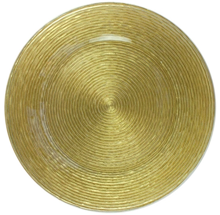 "13"" Chargeit by Jay Circus Gold Glitter Glass Charger Plate - Set of 12"