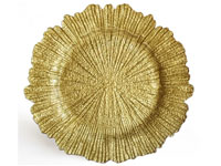 "13.5"" Chargeit by Jay Reef Gold Charger Plate - Set of 12"